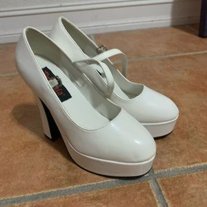 Demonia White Platforms 8
